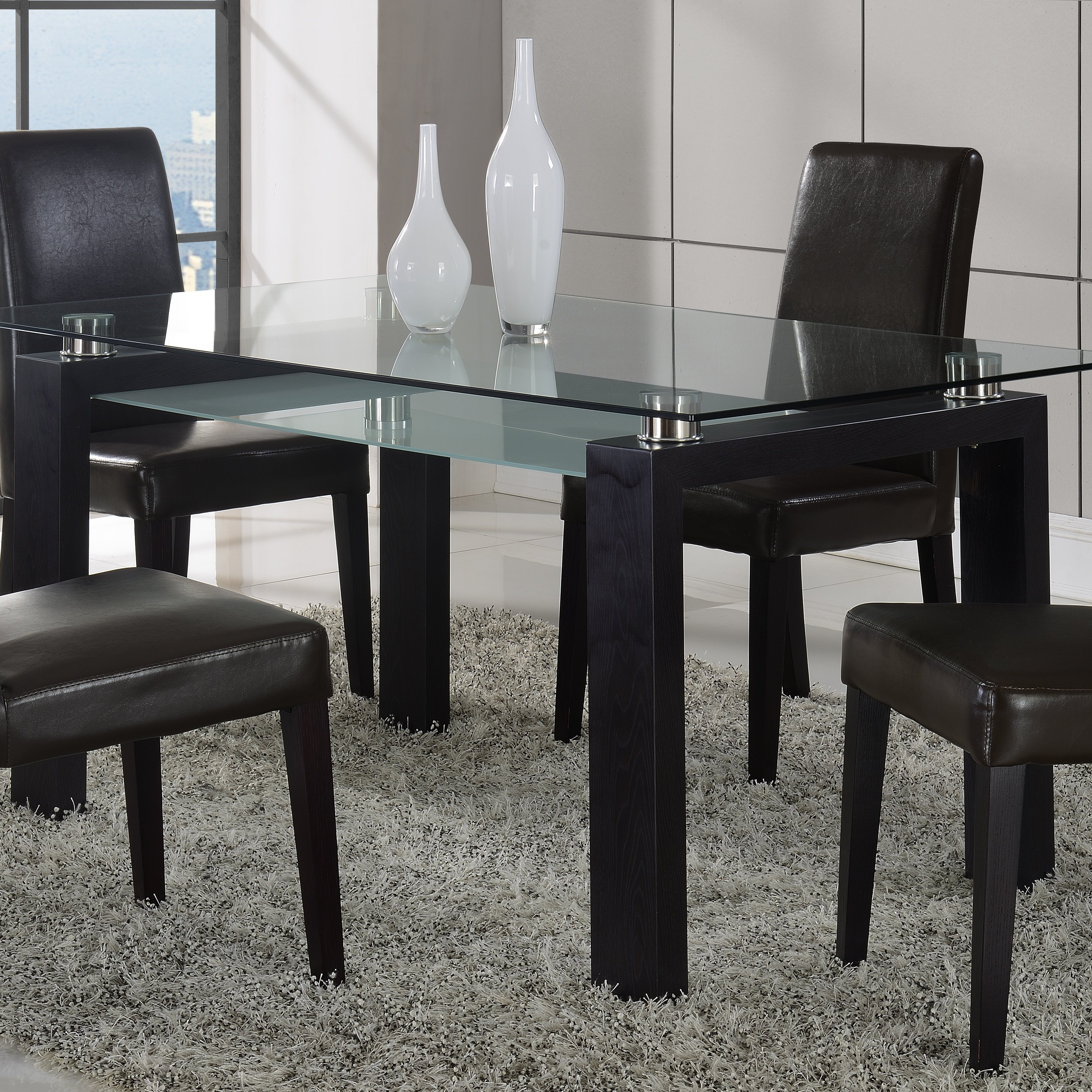 Global Furniture Usa Black Walnut Glass-top Dining Table