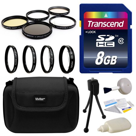 8GB Kit for Sony includes Transcend 8GB Memory Card, Deluxe Hard Shell Carrying Case, 4 Piece Close Up Macro Filter Kit, 5 Piece Professional Filters Set, DSLR Digital Camera Cleaning Set