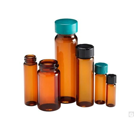 15 x 45 mm 1 Dram Amber Borosilicate Vial with 13-425 Black Phenolic Pulp & Vinyl Lined Cap - Pack of 144 15 Mm Amber Square