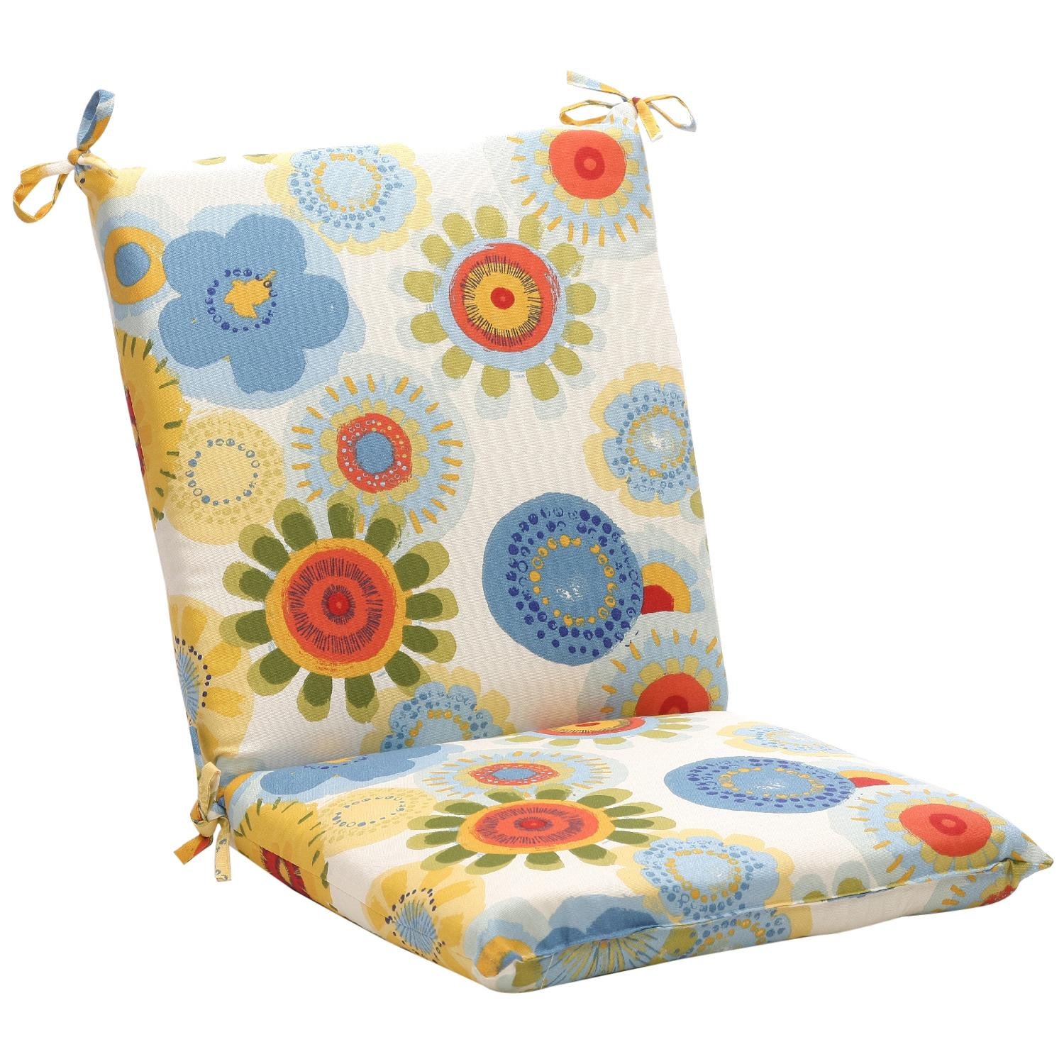 "40.5"" White and Blue Floral Outdoor Patio Furniture Chair Cushion"