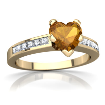 Citrine Channel Set Ring in 14K Yellow Gold by