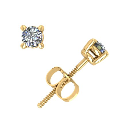 1/3Ct Round Diamond Basket Stud Earrings 14k Yellow Gold 4Prong ScrewBack GH