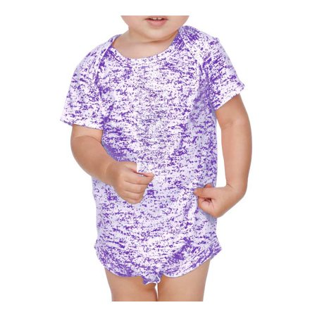 Kavio IJP0659 Infants Static Jersey Print Lap Shoulder Short Sleeve Onesie-Grape-12M