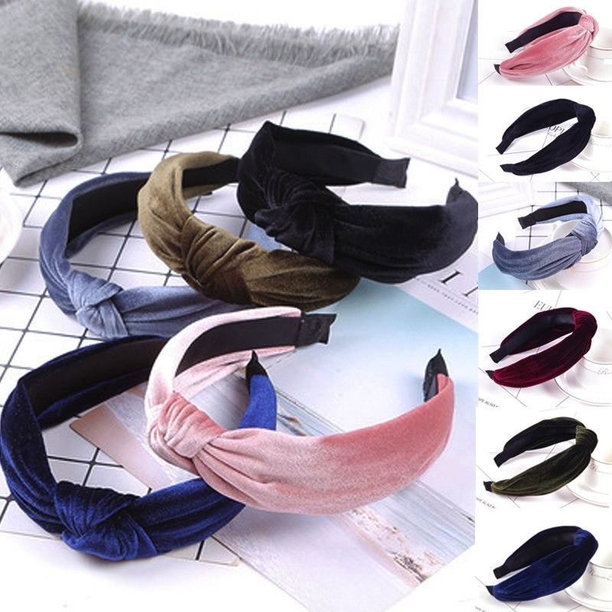 Women Headband Twist Hairband Bow Knot Cross Tie Velvet Headwrap Hair Band Hoop