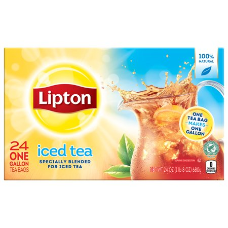 Mahogany Tea (Lipton Unsweetened Gallon-Sized Black Iced Tea Bags, 24 ct )