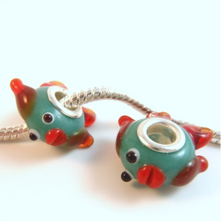 1 Bead - Fish Lampwork Orange Aqua Silver European Charm Bead E0900