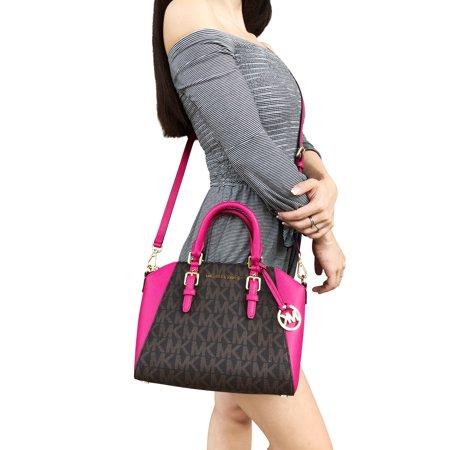 d357d4ac9997 Michael Kors Medium Ciara Messenger Small Satchel Crossbody Brown MK Ultra  Pink - Walmart.com