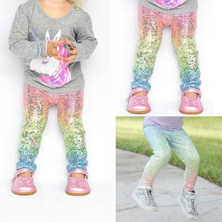 Kids Baby Girls Cartoon Sequin Clothes Bottoms Leggings Pants Toddler Trousers - Girls Sparkle Leggings