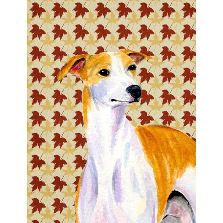 Caroline's Treasures Whippet Fall Leaves Portrait 2-Sided Garden Flag
