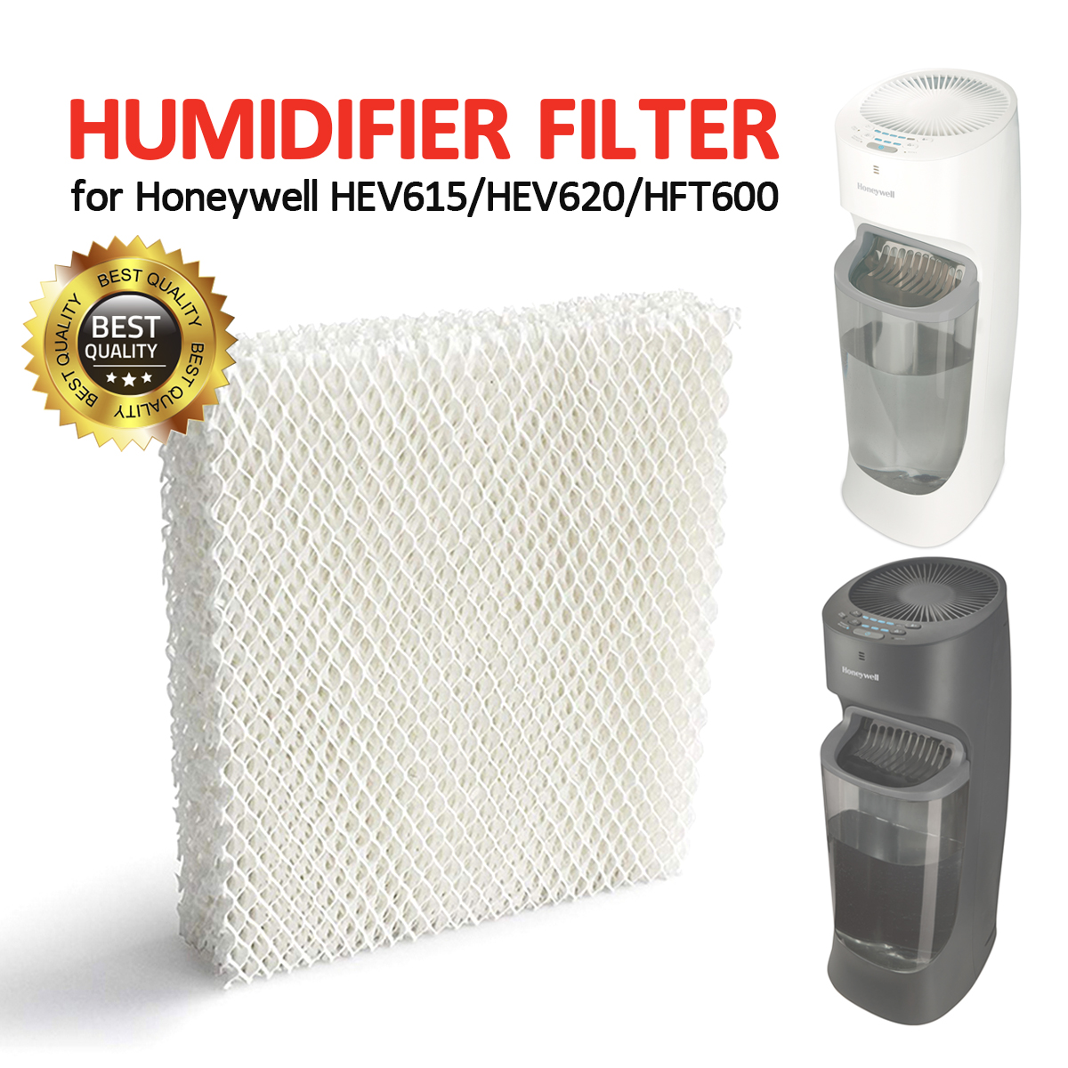 HFT600PDQ Replacement for Honeywell HEV615 HEV620 HEV600 Series Top Fill Cool Mist Humidifiers HQRP 2-pack Wick Filter compatible with Honeywell Filter T HFT600