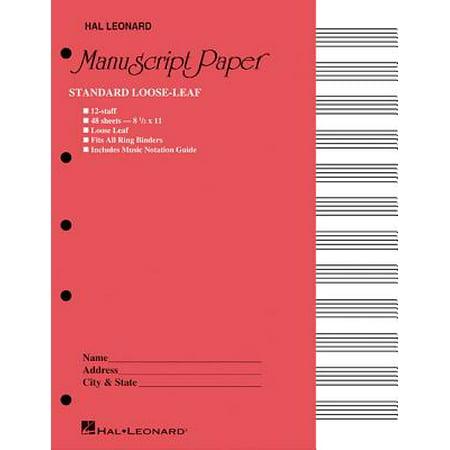 - Standard Loose Leaf Manuscript Paper (Pink Cover)