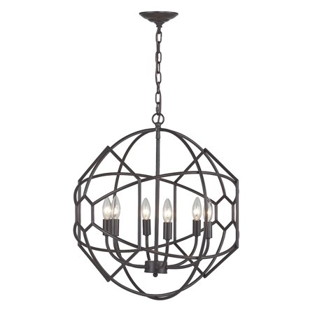 Strathroy 6-Light Chandelier in Aged Bronze with Honeycomb (Transitional Aged Bronze Chandelier)