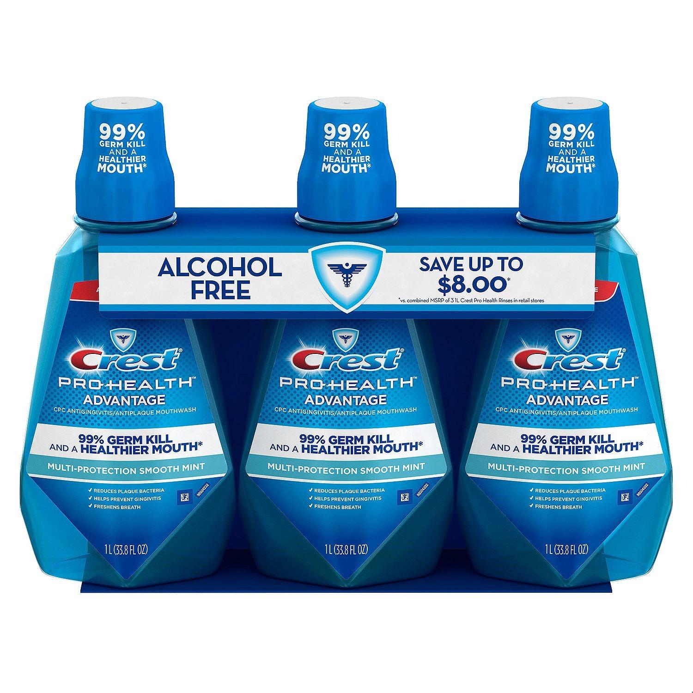 Crest Pro-Health Advantage Mouth Rinse, Smooth Mint, 33.8 Fl Oz, 3 Ct