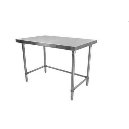 Prairie View ST303424 U-Frame Knock Down Stainless Steel Flat Top Tables - 34 x 30 x 24 in.
