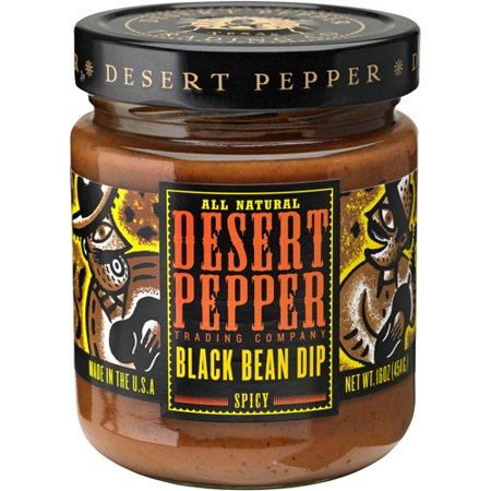 (2 Pack) Desert Pepper Spicy Black Bean Dip, 16 Oz. Jar Chipotle Black Bean Dip