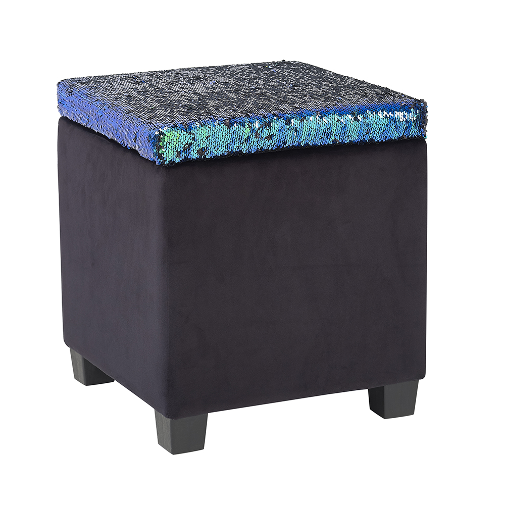 Mainstays Reversible Color Changing Sequin Storage Ottoman
