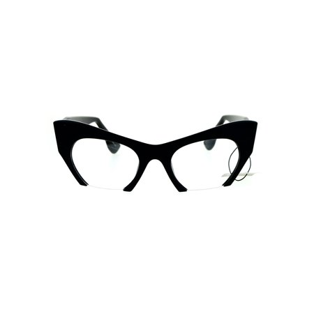 Unique Crop Bottom Retro Cat Eye Clear Lens Eye Glasses Black - Cat Eye Glasses Frames