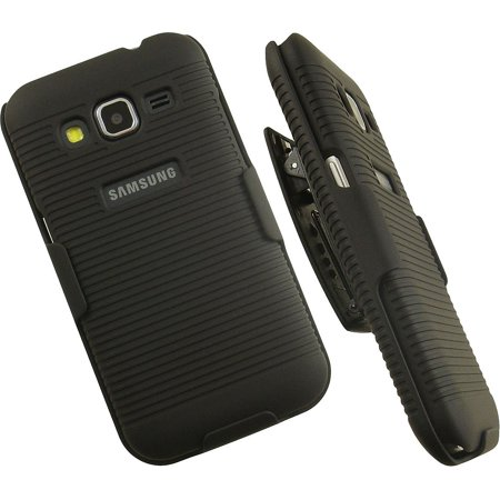 Galaxy Core Prime Clip Case, Nakedcellphone Black Ribbed Rubberized Hard Case Cover + Belt Clip Holster with Stand for Samsung Galaxy Core Prime Phone (aka Galaxy Prevail LTE) SM-G360, S820 (Belt Rubberized Holster)