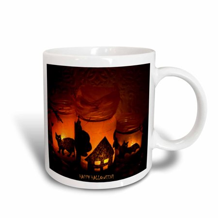3dRose Halloween Cat, House and Bat Luminaries, Ceramic Mug, 11-ounce - Cat Face Halloween Tumblr