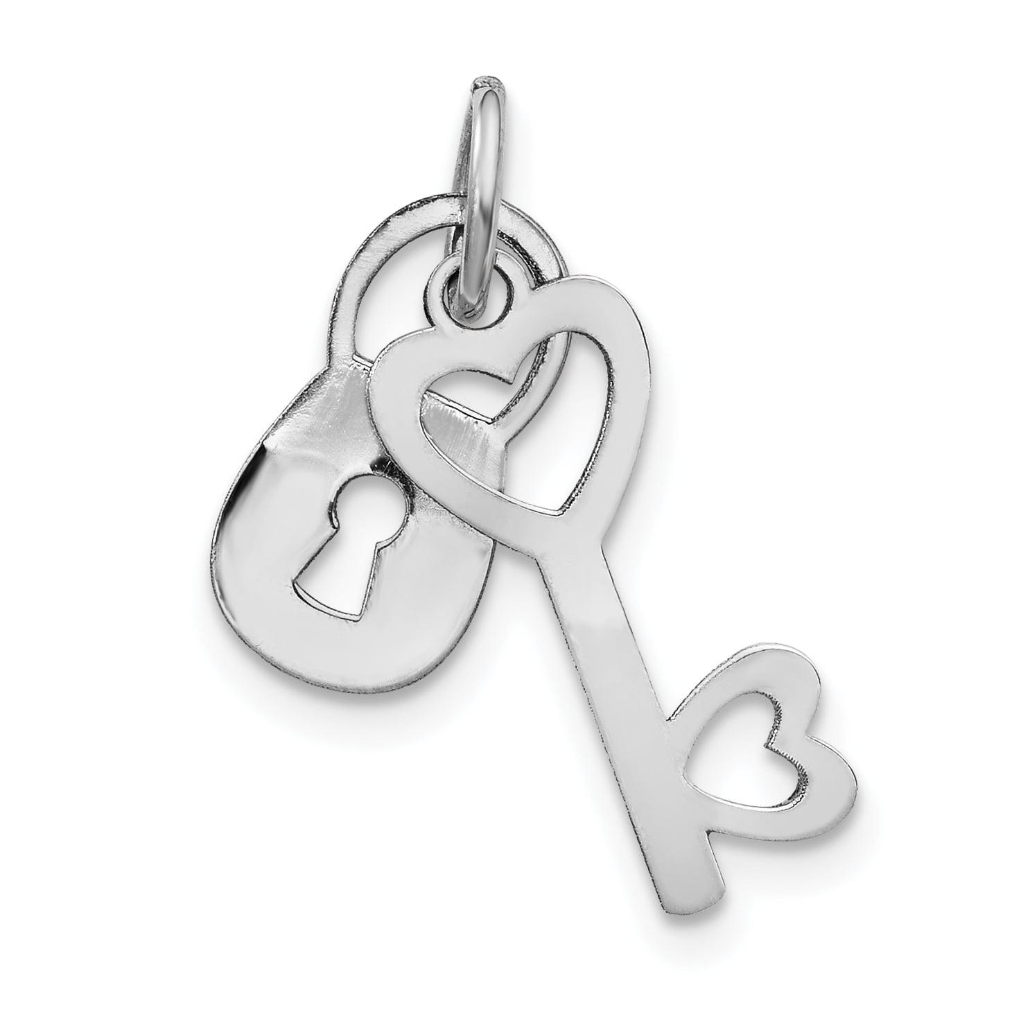 14K White Gold Polished Lock & Key Charm - image 2 of 2