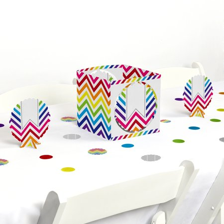 Chevron Rainbow - Party Centerpiece & Table Decoration Kit](Rainbow Table Decorations)