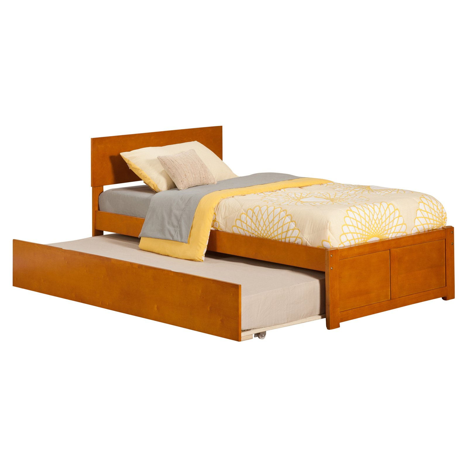 Orlando Full Platform Bed with Flat Panel Foot Board and Twin Size Urban Trundle Bed in Espresso by Atlantic Furniture