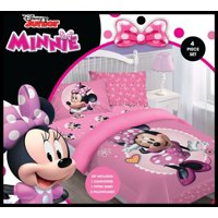 Disney 4pc MINNIE MOUSE Bowtiful Dreamer Bedding Set, Licensed Full Comforter W/Fitted Sheet And Pillowcases