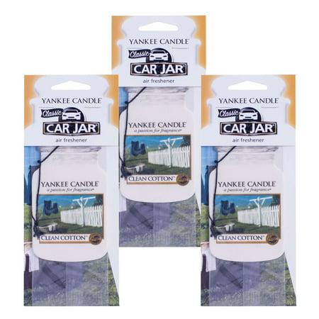 Yankee Candle Classic Car Jar Hanging Air Freshener, Clean Cotton Scent -3 (Pack Car Jars)