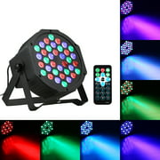 AC90-240V 24W 36 LEDs RGB Mini Stage Par Light Lighting Fixture with IR Remote Control Controller Supported Sound Activated/ Auto-running/ DMX512/ Master-slave for Home Party Decoration Festival Holid