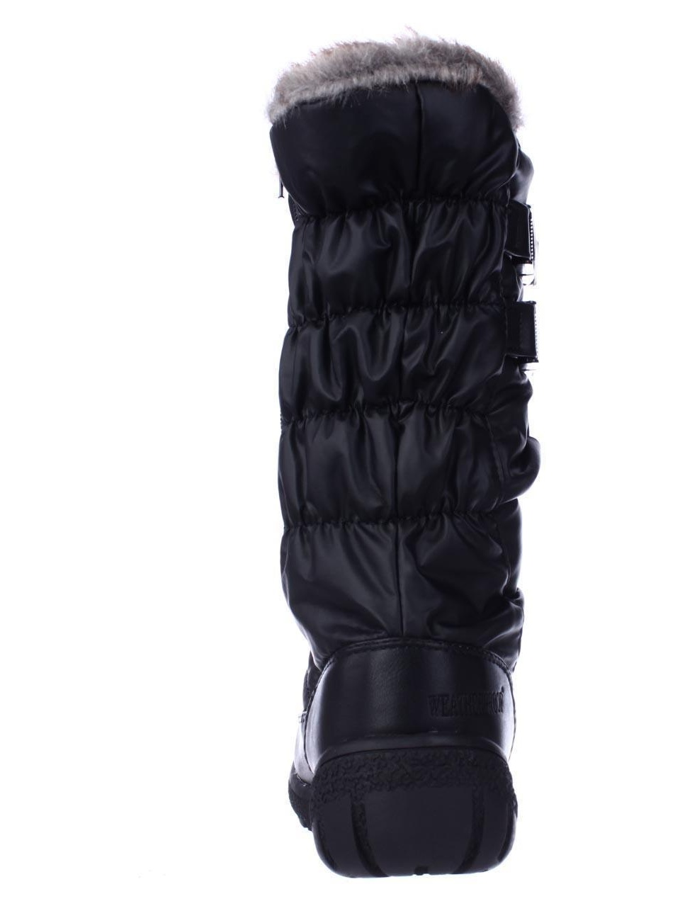Womens Weatherproof Mikayla Mid Calf Boots, Buckle Shearling Lined Winter Boots, Calf Black 49716a