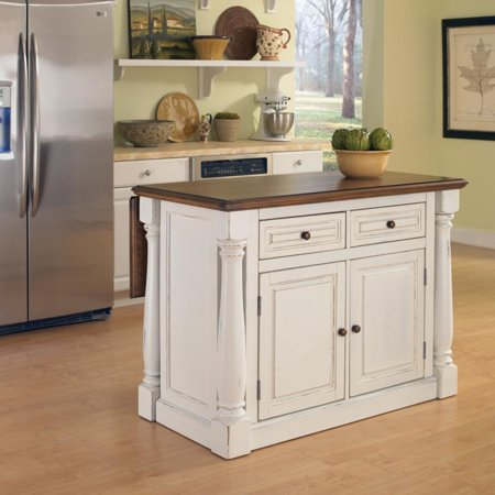 Home Styles Monarch Antiqued White Kitchen Island - Walmart.com