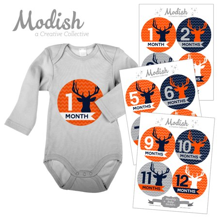 Monthly Baby Stickers, Boy, Deer, Antlers, Woodland, Orange, Navy Blue, Baby Photo Prop, Baby Shower Gift, Baby Book Keepsake, Modish Labels