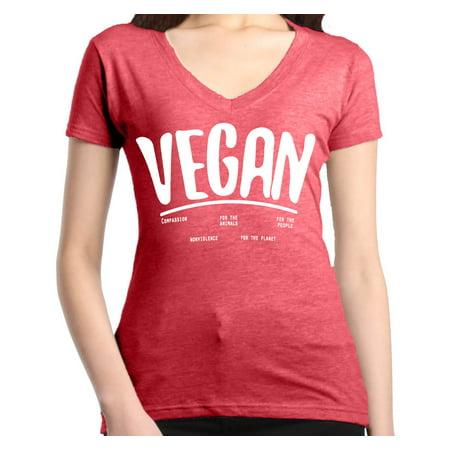 Shop4Ever Women's Vegan For Animals For People Health Slim Fit V-Neck T-Shirt