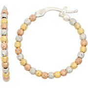14kt Gold-, Rose Gold- and Rhodium-Plated Sterling Silver 20mm DC Beaded Hoop Earrings
