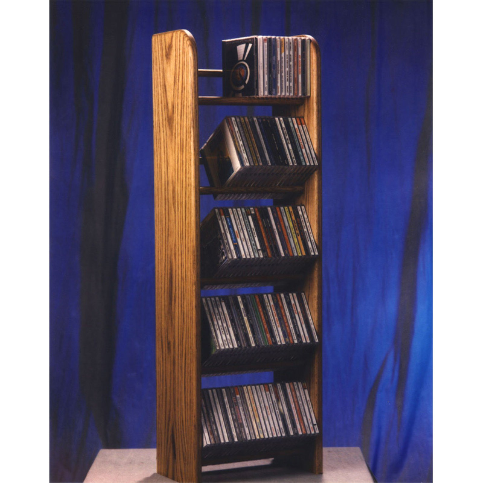 The Wood Shed Solid Oak 5 Row Dowel 130 CD Media Rack