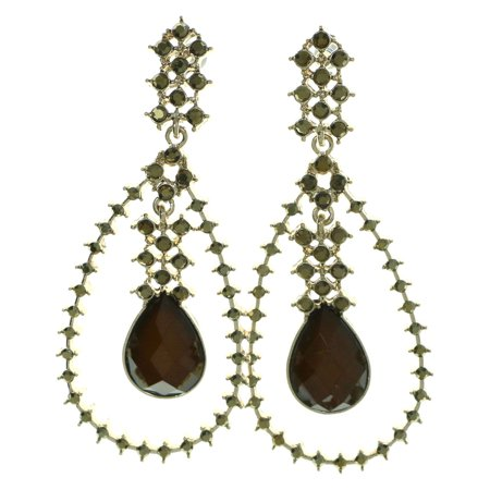 Tear Drop Dangle-Earrings With Brown Faceted Accents Gold-Tone