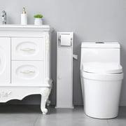 Small Bathroom Storage Corner Floor Cabinet with Doors and Shelves, Thin Toilet Vanity Cabinet, Narrow Bath Sink Organizer, Towel Storage Shelf for Paper Holder, White