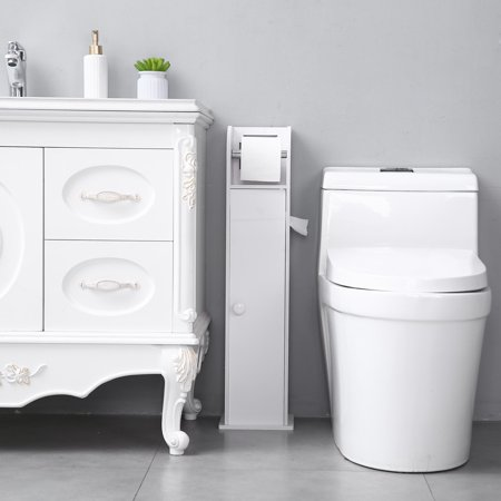 Small Bathroom Storage Corner Floor Cabinet with Doors and Shelves, Thin Toilet Vanity Cabinet, Narrow Bath Sink Organizer, Towel Storage Shelf for Paper Holder, White Corner Sink Cabinet