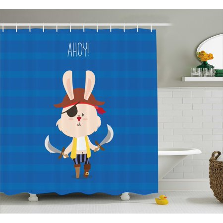 Ahoy Its a Boy Shower Curtain, Pretty Pirate Rabbit Bunny with Eye Patch and Swords Funny Graphic Cartoon, Fabric Bathroom Set with Hooks, 69W X 75L Inches Long, Multicolor, by Ambesonne