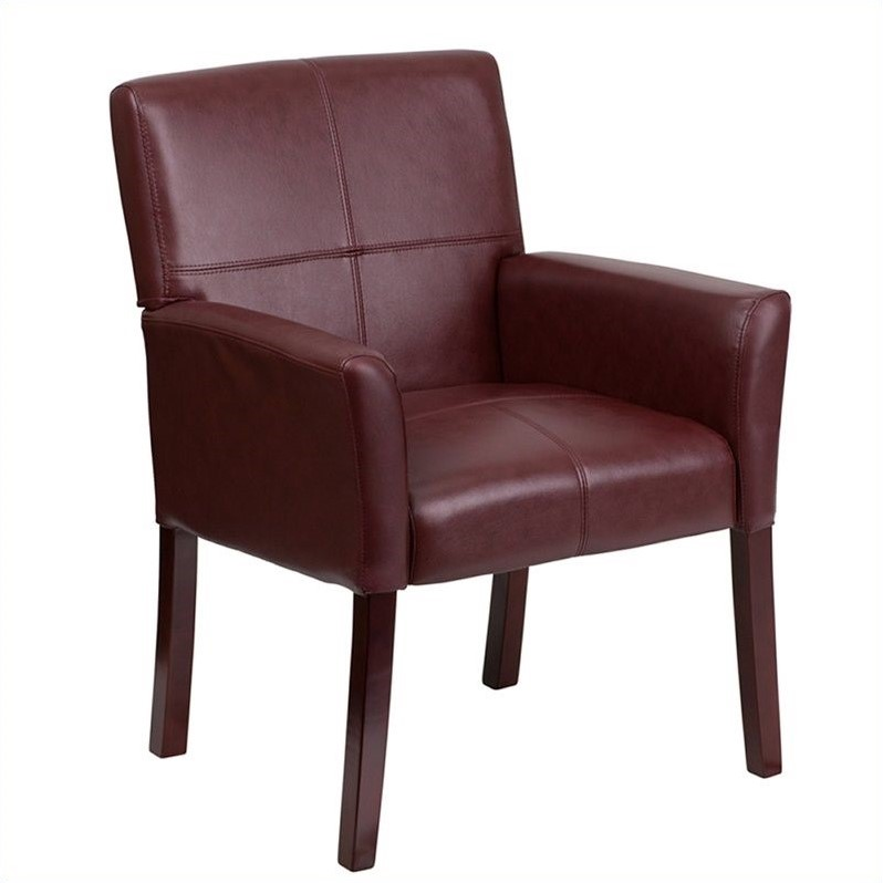 Flash Furniture Leather Executive Side Guest Chair Burgundy And Mahogany