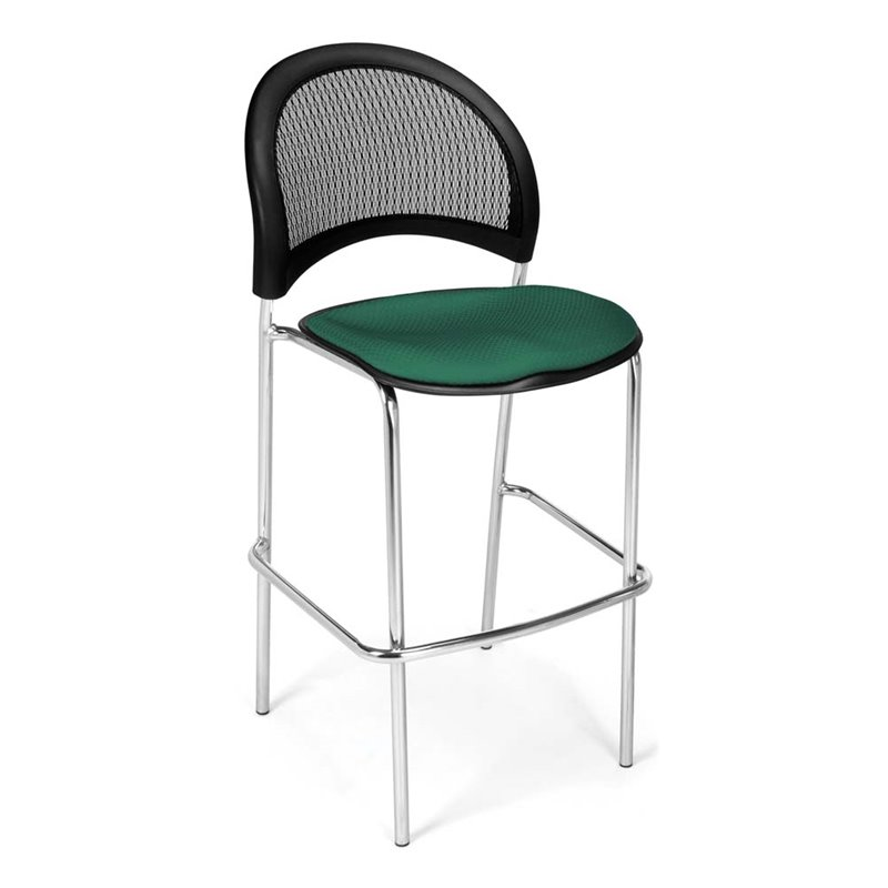 OFM Moon Series Model 338C Fabric Cafe Height Chair, Shamrock Green with Chrome Finish Base