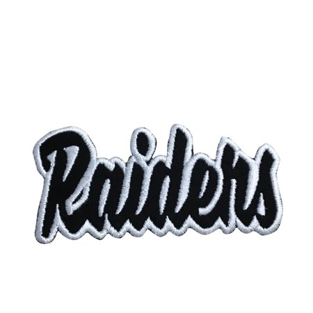 Mascot Patch (Raiders - White/Black - Team Mascot - Words/Names - Iron on Applique/Embroidered Patch )