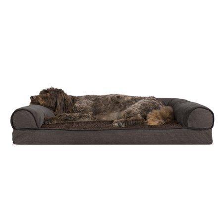 Chenille Suede - Large Faux Fleece & Chenille Soft Woven Memory Top Sofa Pet Bed - Coffee