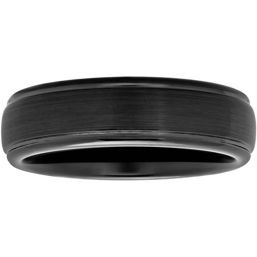 Men's Black IP-Plated Tungsten Domed Ring, 6mm