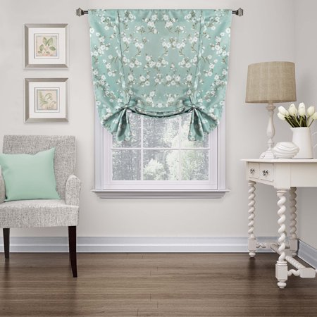 HVERSAILTEX Traditional Aqua Floral Country Style Pattern Thermal Insulated Blackout Curtains For Living RoomRod Pocket Tie Up Shade Window Treatment