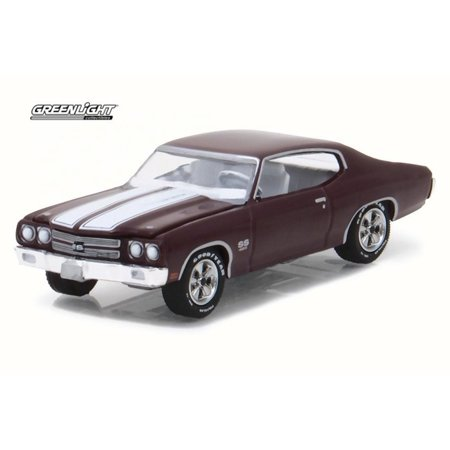 1970 Chevrolet Chevelle SS 454, Black Cherry - Greenlight 13190C/48 - 1/64 Scale Diecast Model Toy Car