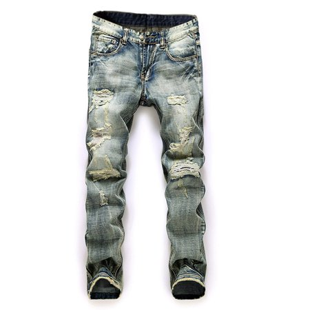 Men Plus Size Straight Jeans Male Distressed Denim Pants Biker Jeans Ro Designer Bin Jeans for Men Religious Outfits
