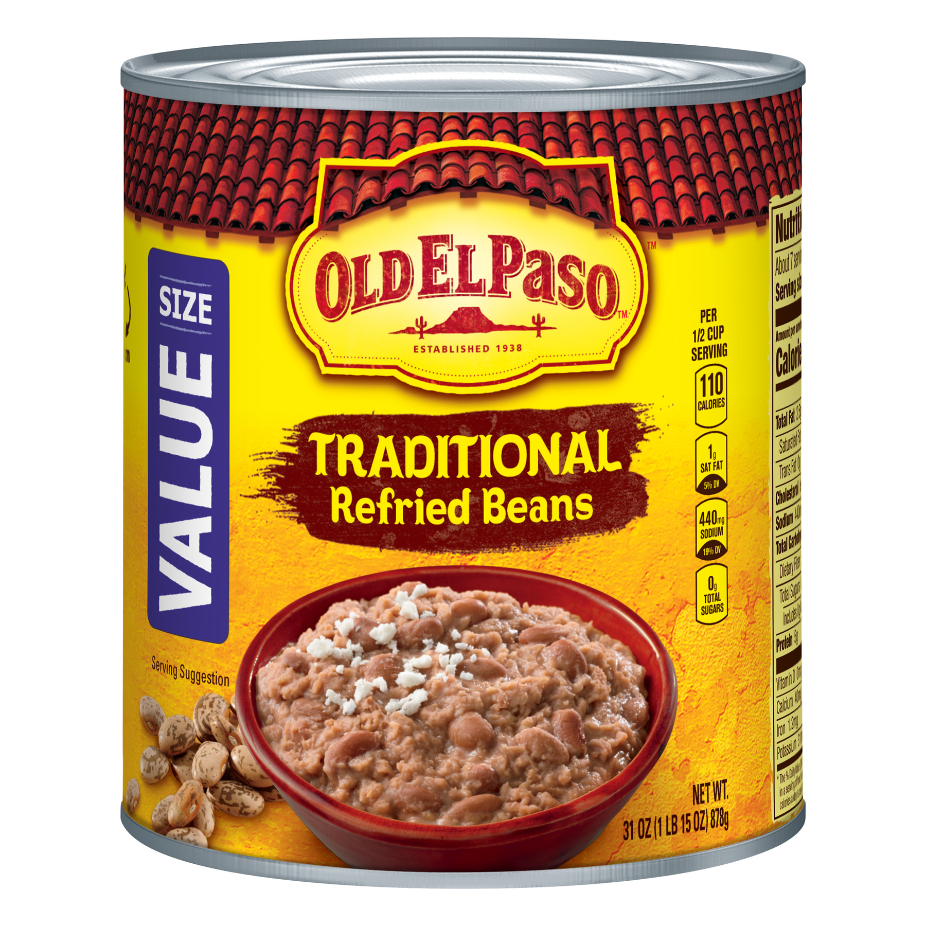 (6 Pack) Old El Paso Traditional Refried Beans, Value Size, 31 oz Can