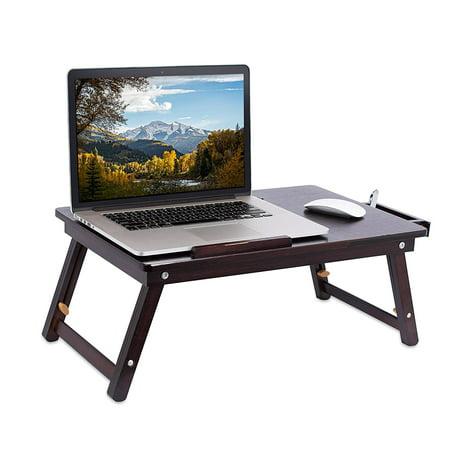 Zimtown Portable Bamboo Folding Laptop Desk Table Breakfast Serving Bed Tray Adjustable Leg ()