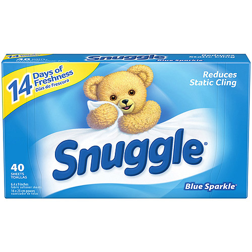 Snuggle Blue Sparkle Fabric Softener Dryer Sheets With Fresh Release, 40ct